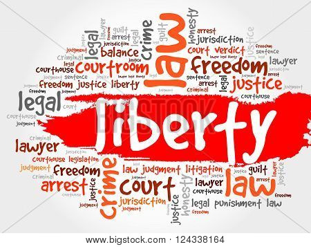 Liberty word cloud collage concept, presentation background