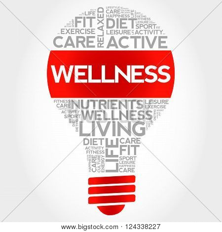 WELLNESS bulb word cloud health concept, presentation background
