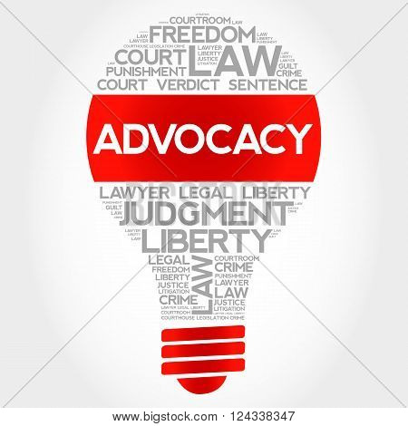 Advocacy bulb word cloud concept, presentation background