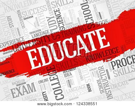 EDUCATE. Word cloud education collage, presentation background