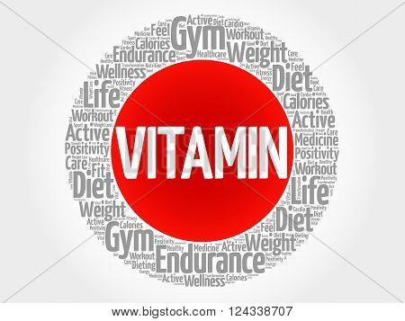 Vitamin Circle Stamp Word Cloud