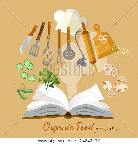 Open cookbook kitchenware flat style vector illustration