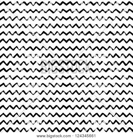 Seamless pattern with hand drawn zigzag. Monochrome hand drawn ink texture. Abstract background with zigzag brush strokes. Ornament for wrapping paper.