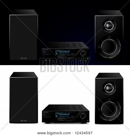 Moderne Audiosystem High-End - Vektor-Illustration