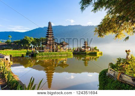 Pura Ulun Danu Bratan at sunrise famous temple on the lake Bedugul Bali Indonesia.