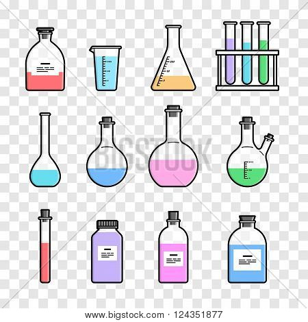 Set chemical flask. Erlenmeyer flask, distilling flask, volumetric flask, test tube. Vector illustration.