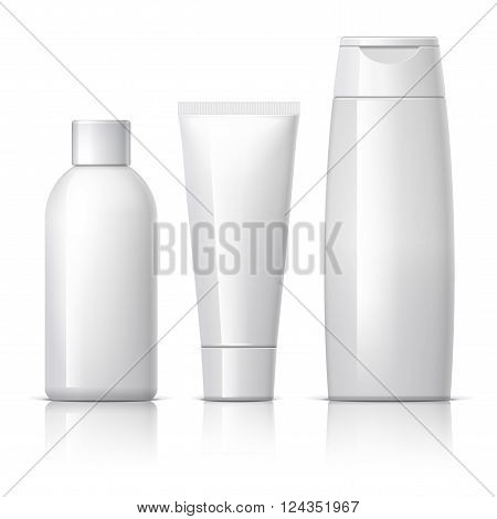 set of cosmetic products on a white background. Cosmetic package collection for cream, soups, foams, shampoo. vector illustration.
