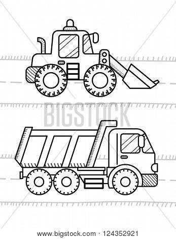 Cars and vehicles coloring book for kids. Dump Truck, Excavator Dozer Digger Tractor