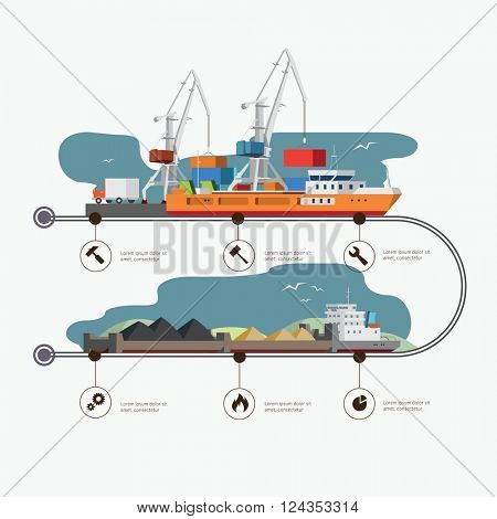 River Port and tugboat with barge infographic time line. Industry and train transportation concept. Vector illustration