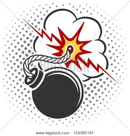 Bomb icon with burning wick. Pop art style bomb cartoon explosion. Vector illustration