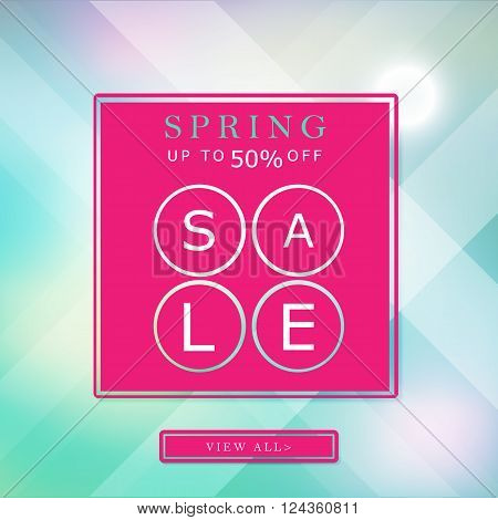 spring up to 50 off sale banner bright background poster