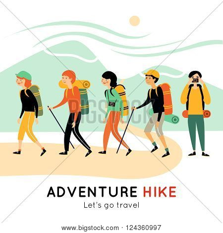 Adventure hike of happy friends with backpacks mats cameras walking sticks and  mountain landscape vector illustration