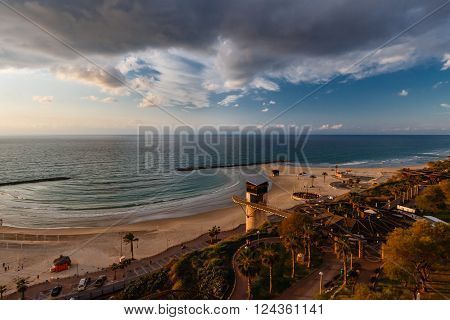 Morning over the Mediterranean beach in Netanya Israel