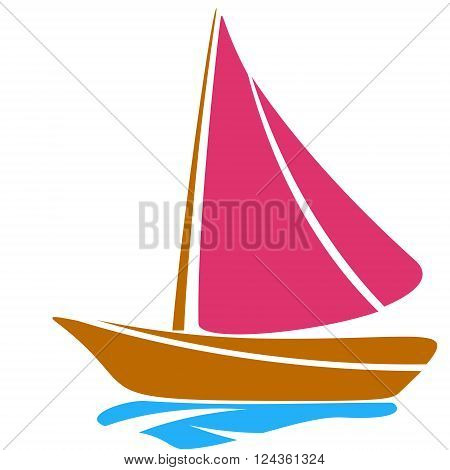 Boat scarlet sail childlike drawing EPS8 - vector graphics.