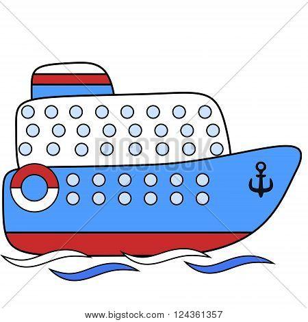 Steamship passenger childlike drawing EPS8 - vector graphics.