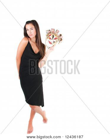 Shot of brunette woman in carnival mask poster