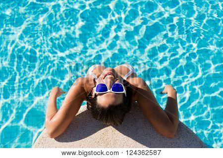 Funny Joyful Woman On Summer Vacation In Swimming Pool