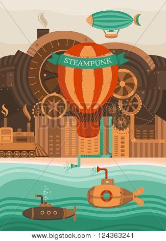 Steampunk vector background. Vintage template design for banners, cards, invitations, covers, web pages. The city in the steampunk style. Illustration of the balloon, gears, retro train. Retro style.