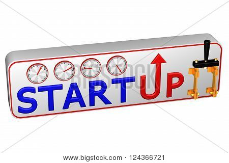 Concept: Startup isolated on white background. 3D render.