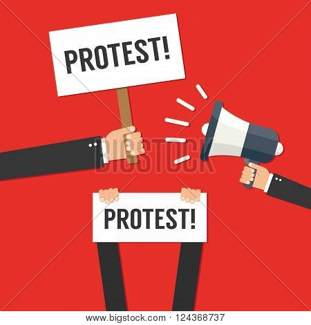 Hands holding protest signs vector illustration isolated