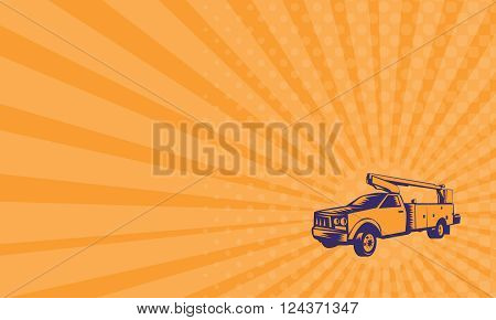 Business card showing illustration of a cherry picker mobile lift truck viewed from side set on isolated white background done in retro woodcut style.