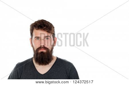 Handsome man with long beard isolated on white