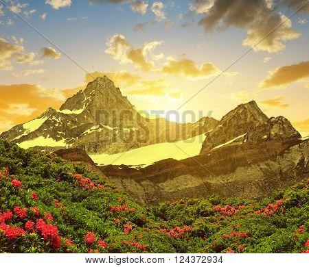 Zinalrothorn in the sunset - Pennine alps, Switzerland.