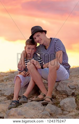Portrait Of Cheerful And Happy Two Brothers, Outdoor