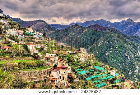 View of Ravello village on the Amalfi Coast in Italy