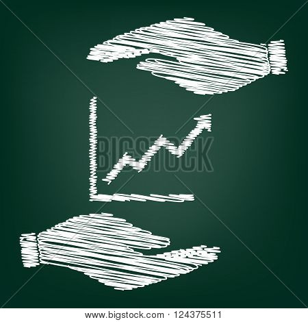 Growing bars graphic sign. Flat style icon with scribble effect