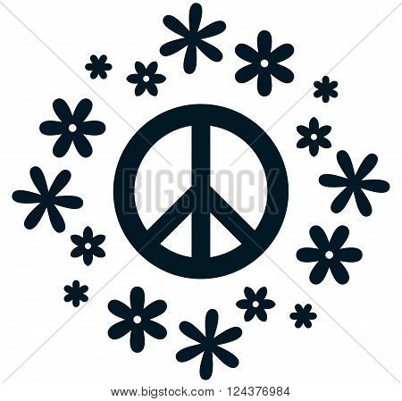Peace pacifism symbol flower power vector illustration isolated