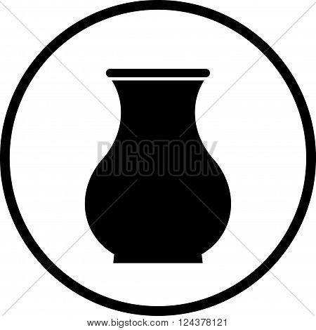 Ceramic pot crock vase vector simple icon isolated