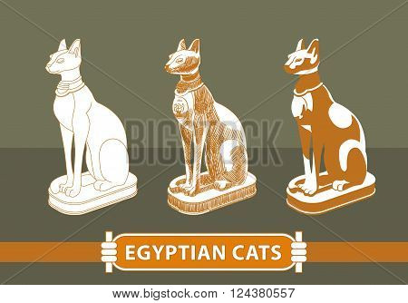 Egyptian cat statue painted in different techniques in beige tones