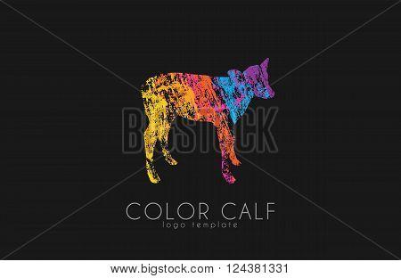 Calf logo. Color calf. Animal logo. Cow kid