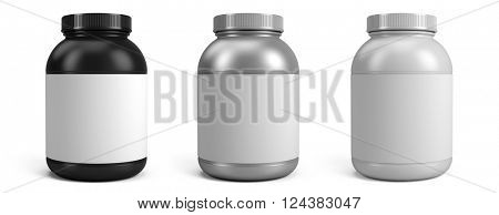 Can of protein or gainer powder with blank label isolated on white background. 3d rendering