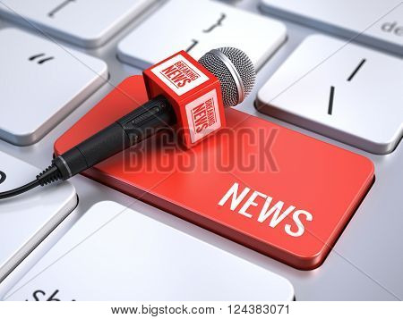 News concept - computer keyboard with word News and microphone. 3d rendering