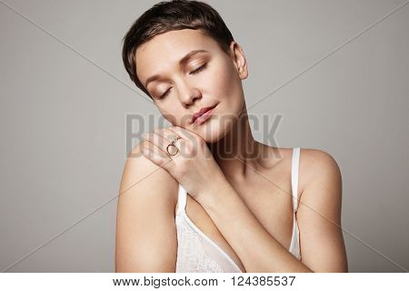Pretty Woman With Closed Eyes. Dream Concept. Ideal Skin. Antiage. Cosmetology Treatments
