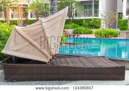 Pool Bed Near Swimming Pool In Tropical Resort