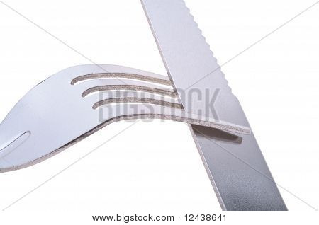 Silver knife and fork isolated