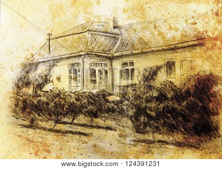 pencil drawning of a house with wine garten in the front. color painting background. computer collage