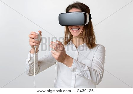 Woman Controlling Game While Wearing 3D Viewer