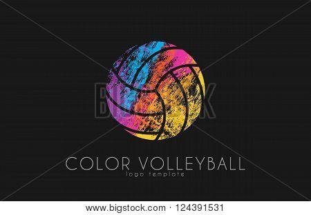 Volleyball logo. Volleyball ball logo design. Color ball. Creative logo. Sport logo