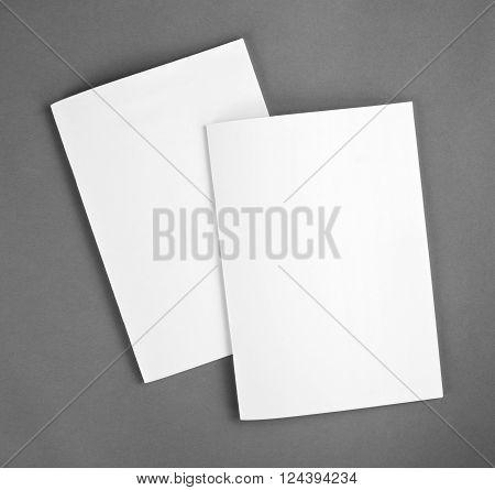 Blank catalog brochure magazines book mock up. Blank closed magazine on grey background.