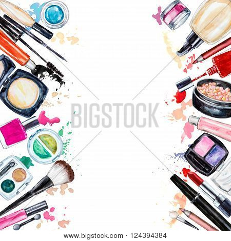 Frame of various watercolor decorative cosmetic. Makeup products beauty items mascara lipstick foundation cream brushes eye shadow nail polish powder lip gloss. Hand drawn cosmetics