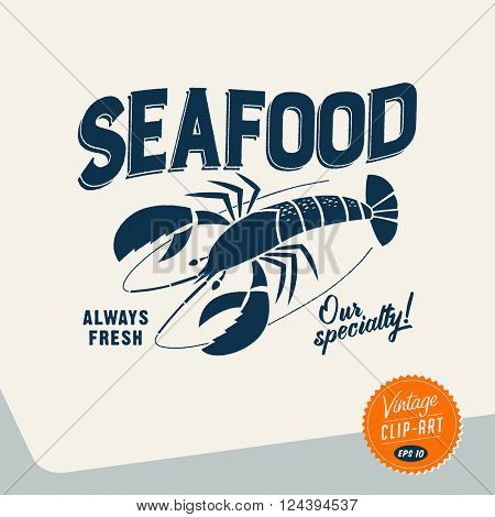 Vintage style Clip Art - Seafood- Vector EPS10.