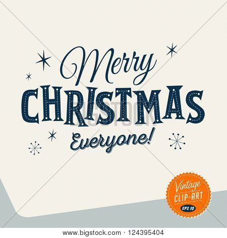 Vintage style Clip Art - Merry Christmas everyone! - Vector EPS10.