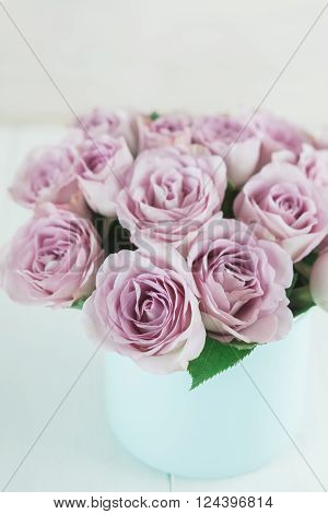 Bouquet of fresh pink roses in a vase