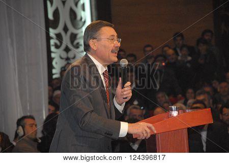ANKARA/TURKEY-FEBRUARY 28, 2014: Turkish politician and Mayor of Ankara Ibrahim Melih Gokcek at the general assebly hall during the cultural event. February 28, 2014-Ankara/Turkey