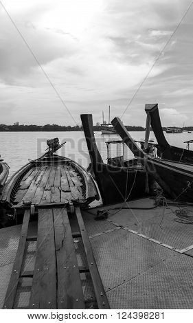 Small Ferry ( boat) in Krabi Provice Thailand black and White Image
