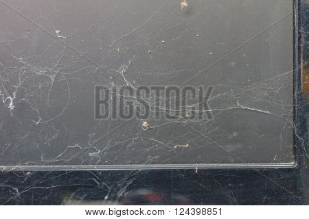 close up computer with full of dust and cobweb
